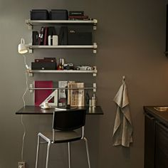 The EKBY BJÄRNUM bracket covers the edge of the shelf so you can trim the shelf and hang it without the raw edge showing. Perfect for a narrow home office!