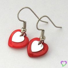 Tiny Red Heart and Silver Valentines earrings [mother of pearl, metal] | mv - Jewelry on ArtFire