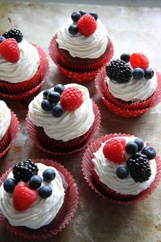 Gluten-Free Red Velvet Cupcakes with Cream Cheese Frosting. 4th of July ready! | Heather Christo