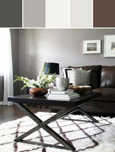 Modern Rustic Living Room - Grey walls, dark brown furniture, & bright colors for accent. Brown Couch Living Room, Living Room Paint, Home Living Room, Dark Floor Living Room, Living Room With Gray Walls, Grey Family Rooms, Living Room Color Schemes, Living Room Colors, Living Room Designs
