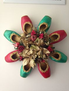 Christmas Pointe Shoe Wreath Holiday Ballet by PointeBlankDesigns