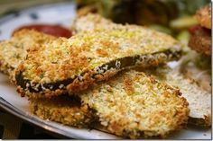 BAKED fried pickles. Bread crumbs, dill, egg, other spices you wish such as garlic salt or cajun seasoning.  Olive oil your baking sheet.  dip pickles in egg then in bread crumb spice mixture.  Bake at 400 for 15 mins. then flip pickles and bake extra 5 mins. Fantastic healthy eats.