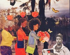 Flowers for Principal Daly--collage art--PRINT