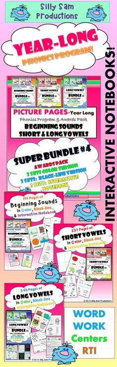 YEAR LONG Phonics Program! 671 Pages!  *BEGINNING SOUNDS *SHORT VOWELS *LONG VOWELS In 3 FUN Formats! *COLOR *BLACK-LINE *INTERACTIVE NOTEBOOK! Centers Word Work RTI PowerPoint Lessons Homework AWARDS PROGRAM plus ARTWORK! Fun Fabulous Phonics!! $