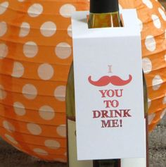 Wine Tags Mustache Holiday Wine Tag Set of 4 by StelieDesigns