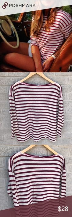 """J. Crew Boat Neck Striped 3/4 Sleeve Tee Shirt J. Crew Boat Neck Striped 3/4 Sleeve Tee Shirt in red & white! A great classic style perfect with Jeans or layered under a jacket! Size Medium. Viscose, Linen & wool blend. 21.5"""" long & 20"""" across the chest. Previously loved. LC598070617 J. Crew Tops Tees - Short Sleeve"""