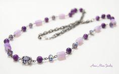 Handmade chain necklace, purple crystals, mix materials #Handmade #Chain