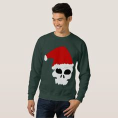 #goth skull christmas mens sweatshirt - #xmas #christmas #christmastime #celebration #kids #children #family #parents #gift #gifts #present #presents