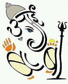 Ganesha - importance of parents in your life Shri Ganesh Images, Sri Ganesh, Lord Ganesha, Ganpati Name Art, Ganpati Drawing, Indian Gods, Indian Art, Ganesh Design, Ganesha Rangoli