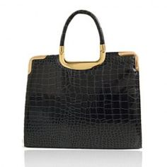 Work PU Leather Crocodile Patterns Design Women's Business Tote
