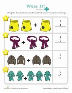 Kindergarten Counting & Numbers Addition Worksheets: Wear It! Addition Worksheet
