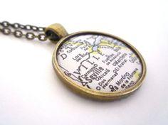 Custom Map Necklace, Seville, Vintage Map Jewelry, Vintage Map Necklace, Travel Theme, Destination Wedding, Wedding Gift, Location Necklace
