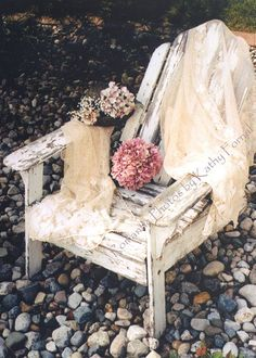 "Dreamy Photography - Cottage Chic Garden White Chair- Dreamy Shabby Chic - White Romantic Vintage Chair Photo 5"" x 7"". $15.00, via Etsy."