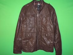 #GUESS #Jacket #Leather #FauxLeather #LongSleeve #Mens #BrownLeather