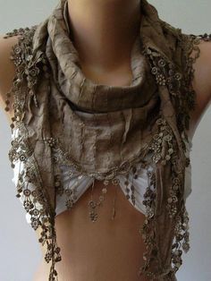 Caramel  Elegance Shawl / Scarf with Lace Edge by womann on Etsy, $16.90
