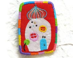 """Textile Brooch """"Hundertwasser N5"""",  hand embroidered textile jewelry"""