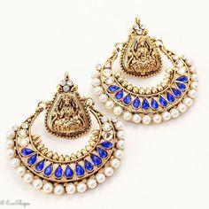 New Bollywood Style Royal Blue Ramleela Earrings With Pearl And Kundan Stones