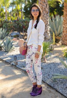 printed pants with chic top and wedge sneakers