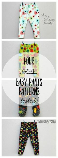 4 Free Baby Pants Sewing Patterns, all sewn up and tested with links to the free patterns. Perfect baby shower gifts to sew - #babysewingpatterns #freebabypatterns