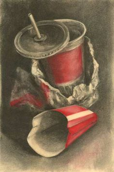 Carbon Footprints Art: charcoal still life drawings of trash - Jo Bradney This is a good still life drawing using dry media and symbolism. Creating one of these is your holiday requirement. Ap Drawing, Object Drawing, Still Life Drawing, Still Life Oil Painting, Still Life Art, Drawing Of Food, Pastel Drawing, High School Art, Middle School Art