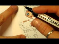 How to colour digital stamps with promarkers, use fine nib that fits over the bullet nib.  krista smith style part 1