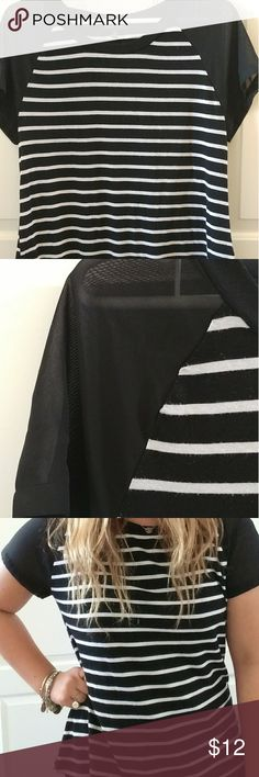 Striped Shirt Black & white striped shirt, with super cute sheer sleeves. Perfect for any season! Cool for summer & also cute for fall & winter with a sweater! In good condition. Fairly new & worn only a few times West Kei Tops Tees - Long Sleeve