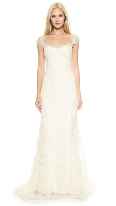 Marchesa Corded Lace A-Line Gown - where can I get a lace topper with these sleeves?!