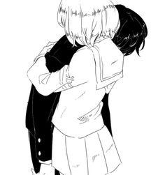 Manga couple, hug