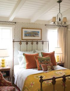 Kathryn M. Ireland's Timeless Interiors, photo © 2012 Tim Beddow.    Love the duvet, not the wallpaper