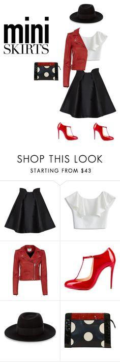 """""""#miniskirt"""" by thestylenerd ❤ liked on Polyvore featuring Paper London, Chicwish, IRO, Christian Louboutin, Maison Michel, Fendi and MINISKIRT"""