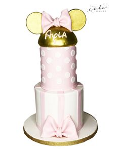 Pink and Gold Minnie Mouse Cake. Call or email to order your celebration cake today. Click the link below for more information. Disney Themed Cakes, Disney Cakes, Cakes Today, Minnie Mouse Cake, Fondant Cakes, Celebration Cakes, Disney Inspired, Custom Cakes, Dessert Table