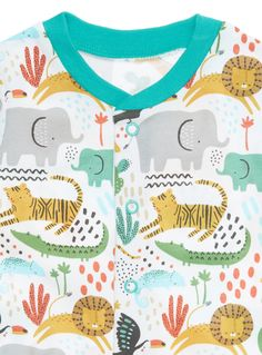 Crafted from pure cotton, these jungle themed sleepsuits will make a fun addition to his essentials. Our sleepsuits have a toe friendly design for extra comfort, soft backing fabric to prevent scratching and nickel-free poppers for delicate skin. Boys jungle sleepsuit 1x Animal sleepsuit 1x Blue sleepsuit 1x Stripe sleepsuit Pure cotton Toe friendly design Soft backing fabric Nickel free poppers Non-slip soles Keep away from fire