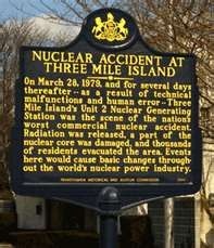 Nuclear Accident at Three Mile Island in Middletown, PA. Text: On March 28, 1979, and for several days thereafter -- as a result of technical malfunctions and human error -- Three Mile Island's Unit 2 Nuclear Generating Station was the scene of the nation's worst commercial nuclear accident. Radiation was released, a part of the nuclear core was damaged, and thousands of residents evacuated the area. Events here would cause basic changes throughout the world's nuclear power industry.