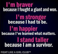 I Am A Breast Cancer Survivor! Encouragement, Hope, resilience, ABCD: After Breast Cancer Diagnosis Breast Cancer Quotes, Breast Cancer Survivor, Breast Cancer Awareness, Epilepsy Awareness, Cancer Survivor Quotes, Cancer Survivor Party, Survivor Theme, Survivor Tattoo, Im A Survivor
