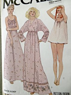 Vintage McCall's 6428 Sewing Pattern, 1970s Robe Pattern, Shortie Nightie Pattern, 1970s Nightgown Pattern, Bust 32.5 to 34, 1970s Long Robe by sewbettyanddot on Etsy Lingerie Patterns, Clothing Patterns, Dress Patterns, Paper Patterns, Mccalls Patterns, Vintage Sewing Patterns, Maternity Sleepwear, Nightgown Pattern, Vintage Nightgown