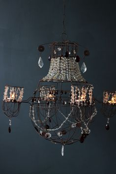 Miss Havisham Wirework and Beaded Tea Light Chandelier