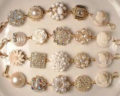 RESERVED Vintage Shades of Ivory Pearl & Rhinestone Gold Bridesmaids Bracelets, Heirloom Cluster Earring One-of-a-Kind Bracelets Set of 4