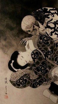 Japanese Art Modern, Traditional Japanese Art, Japon Illustration, Japanese Illustration, Japanese Horror, Art Asiatique, Arte Obscura, Samurai Art, Samurai Drawing