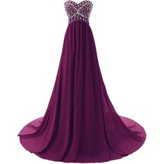 Dressystar Sweetheart Beaded Long Prom Dress Flowing Chiffon... (1,325 MXN) ❤ liked on Polyvore featuring dresses, gowns, long dresses, purple, ball gowns, long chiffon dress, long purple dress, purple prom dresses, prom dresses and long chiffon gown