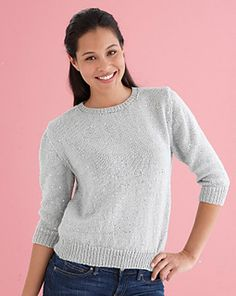 Classic Sparkling Sweater by Lion Brand Yarn. This pullover combines subtle shimmer with a classic, easy fit. Sweater Knitting Patterns, Knit Patterns, Ravelry, Fresh Outfits, Simple Outfits, Lion Brand Yarn, Knit Fashion, Fashion Outfits, Couture