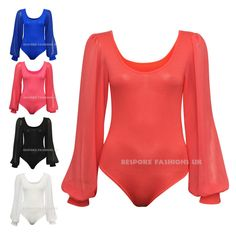 New Womens Long Sleeve Chiffon Bodysuit Top Ladies Plain Body Top Leotard 8-22 in Clothes, Shoes & Accessories, Women's Clothing, Tops & Shirts | eBay
