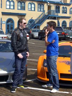 Max and Tanner discuss the Gumball 3000 during the Supercars Exposed shoot for Speed Channel with the Gumpert Apollo and Porsche Carrera GT