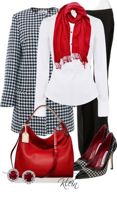 houndstooth jacket, white shirt, black pants and black and white shoes, red scarf and purse