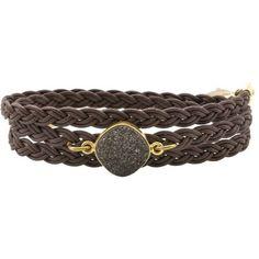 Alexandra Beth Designs Brown Druzy Wrap Bracelet ($112) ❤ liked on Polyvore featuring jewelry, bracelets, accessories, brown, women, brown jewelry, alexandra beth designs, brown bangles, drusy jewelry and druzy jewelry