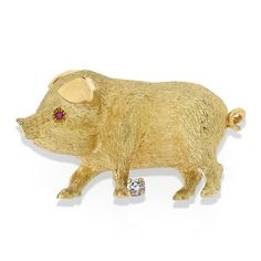 herend pig   gold pig pin ruby eyes diamond at foot pig has two ruby eyes 08 tcw ...