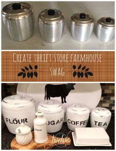 Upcycled metal canisters into cute white farmhouse canisters with stenciled labels.    Thrift Store Farmhouse Swag Series!