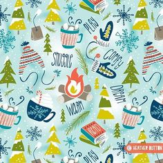 Last weekend I shared the sketches for my new ❄️Snow Day Hooray design... here's a peek at how the finished pattern turned out  Coming soon to my Spoonflower shop!