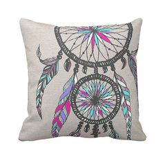 Dreamcatcher Pillow Cover Cotton and Burlap Pillow by JolieMarche