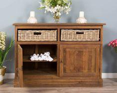 Reclaimed Teak Dresser with Natural Wicker (Kubu) Drawers - Sustainable Furniture