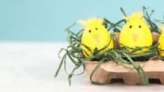 Chick Easter Eggs: Recruit the kids to make these adorable chicks – complete with beaks and feathery tops.